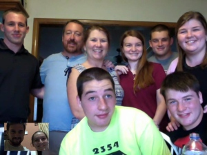 We were able to get a screen capture of the whole clan visiting by FaceTime before Jon left for Basic - with Mickey and Jessica from Honduras in the inset.