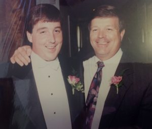 My Dad and Me on my wedding day: we both had a lot more and a lot darker hair then.