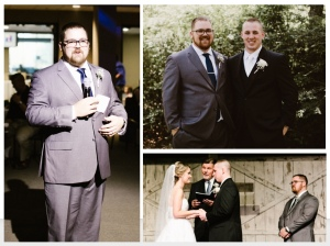 These pictures are from my son's wedding. Andrew's best man, Duncan, is seen doing what a best man does - toasting the groom and bride, standing beside the groom in support, and witnessing the ceremony.